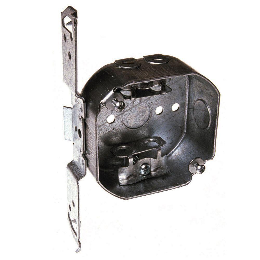 4 in. Drawn Octagon Electrical Box, AC/MC/Flex Clamps and Bracket