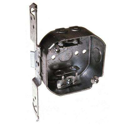 4 in. Octagon Box, Drawn, 1-1/2 in. Deep, Two 1/2 in. KO's and AC/MC/Flex Clamps, TS Bracket (50-Pack)