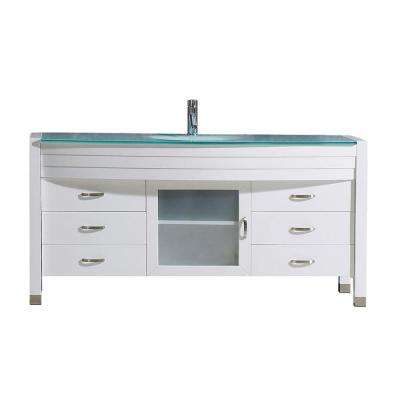 Ava 55 in. W Bath Vanity in White with Glass Vanity Top in Aqua Tempered Glass with Round Basin and Faucet
