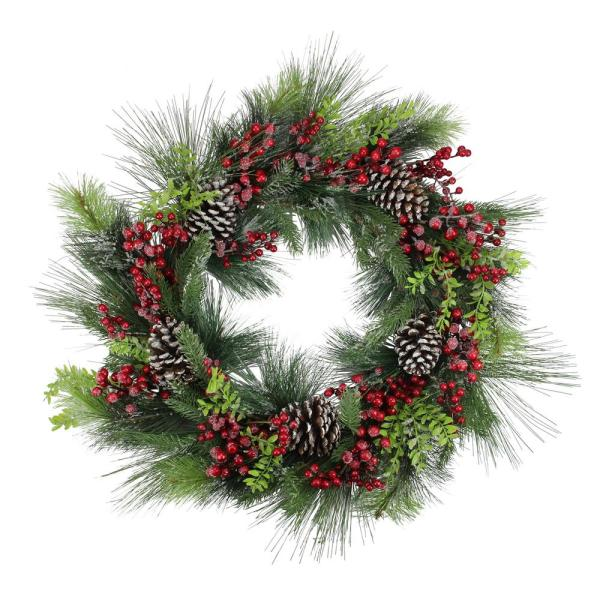 Northlight 28 In Wreath Monalisa Mixed Pine Christmas 32283274 The Home Depot