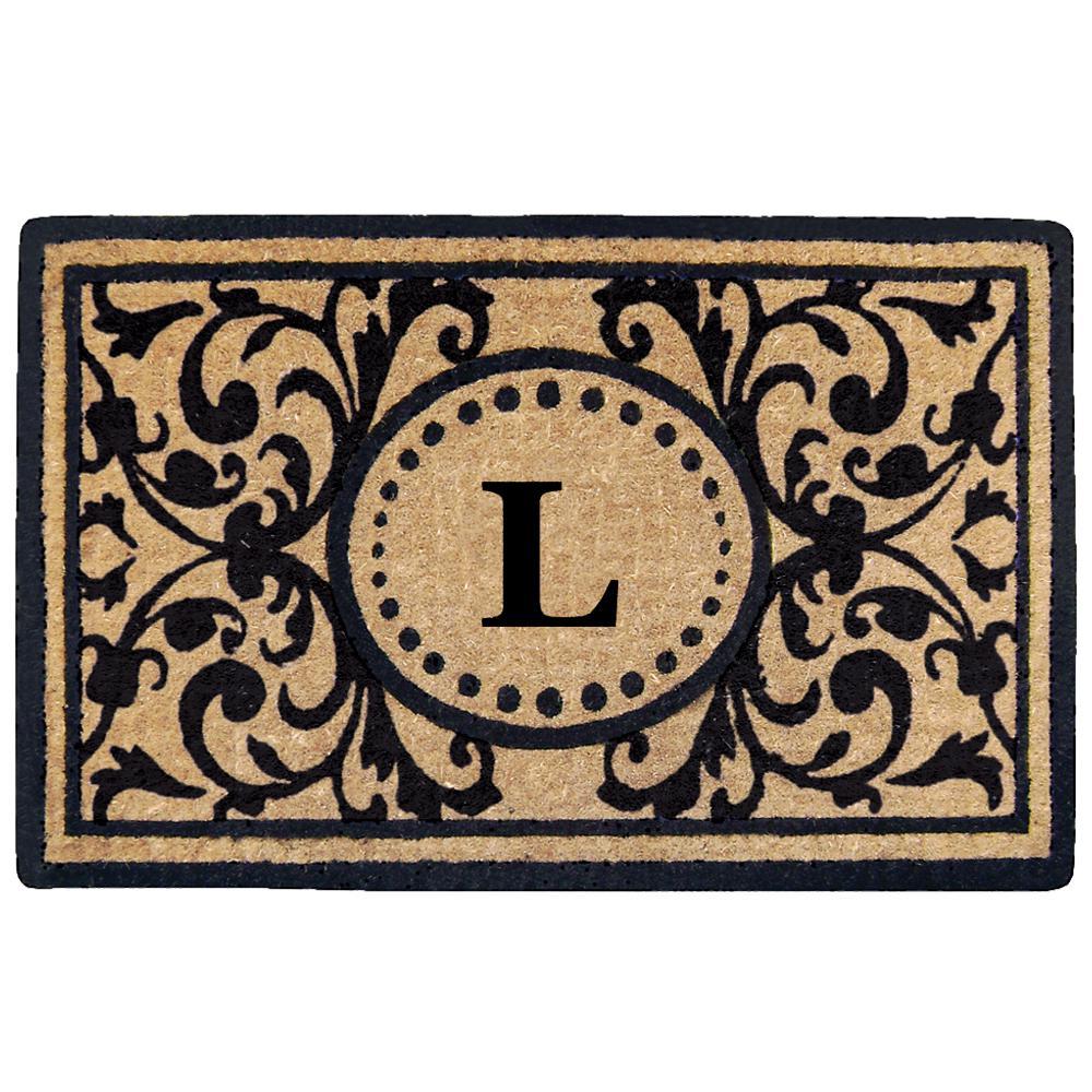 Heritage 18 in. x 30 in. Heavy Duty Coir Monogrammed L Door Mat