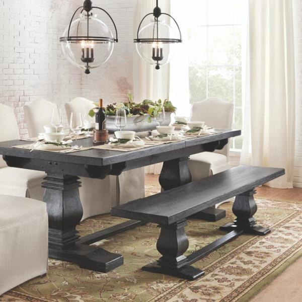 Aldridge Washed Black Extendable Dining Table Nb023wb The Home Depot