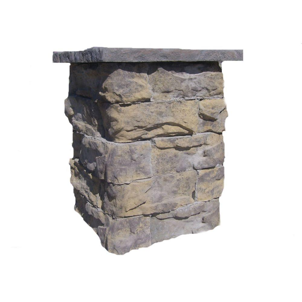 null 36 in. Concrete Tall Fossill Limestone Column Kit with Top Cap