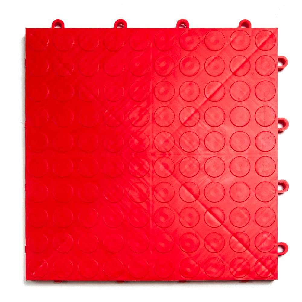 12 in. x 12 in. Coin Red Modular Tile Garage Flooring