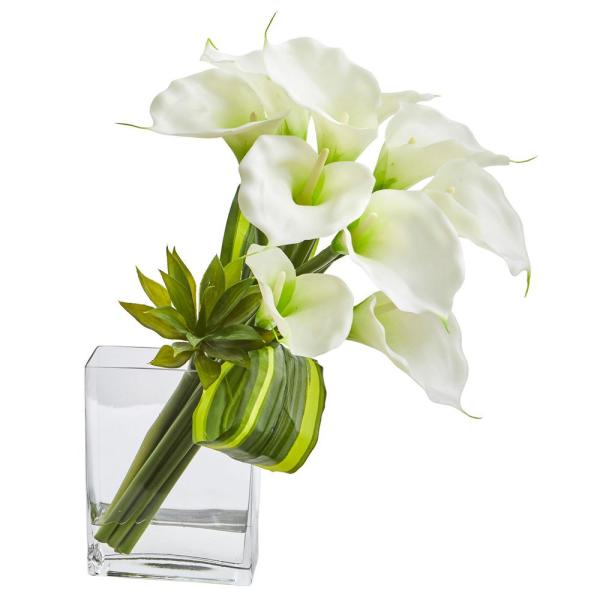 Nearly Natural 20 in. High White Calla Lily and Succulent Bouquet