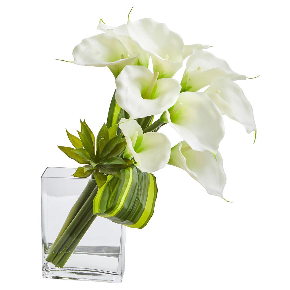 White Calla Lily And Succulent Bouquet