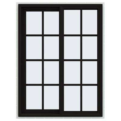 36 in. x 48 in. V-4500 Series Black FiniShield Vinyl Left-Handed Sliding Window with Colonial Grids/Grilles