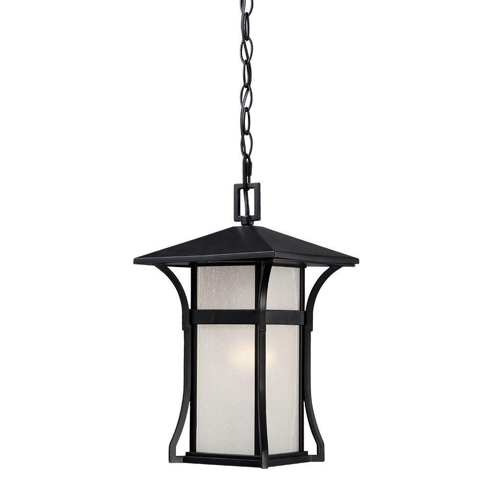 Tahiti 1-Light Matte Black Outdoor Hanging Lantern