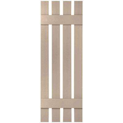 16-1/4 in. x 48 in. Lifetime Vinyl Custom Four Board Spaced Board and Batten Shutters Pair Wicker