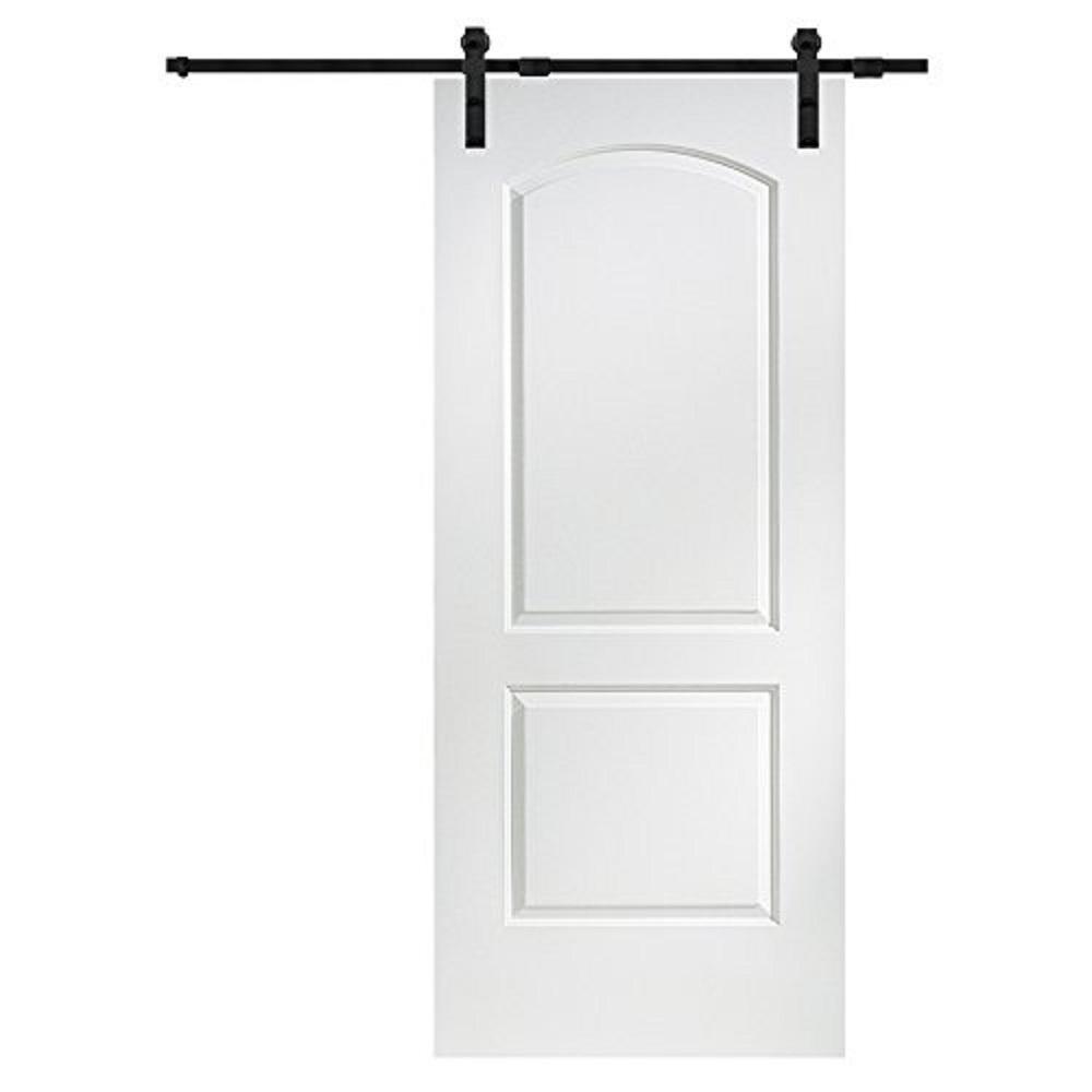 36 in. x 80 in. Primed Molded MDF Caiman Barn Door with Sliding Door Hardware Kit