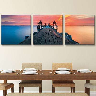 "20 in. x 60 in. ""Sunrise Pier"" Printed Canvas Wall Art"