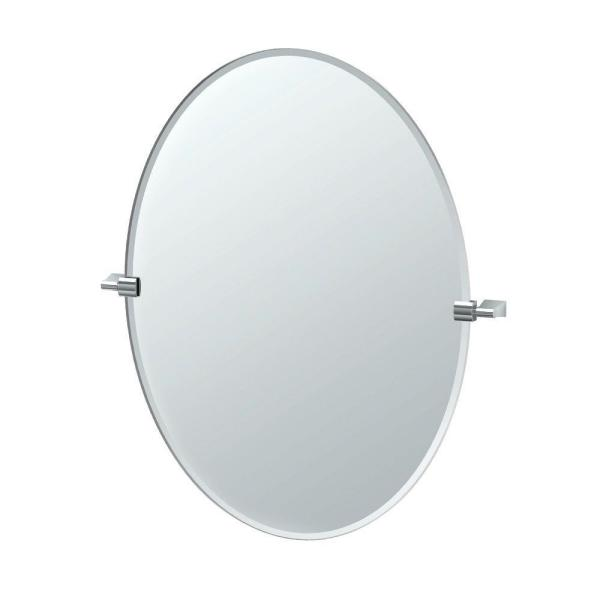 Bleu 28 in. W x 32 in. H Frameless Oval Bathroom Vanity Mirror in Chrome