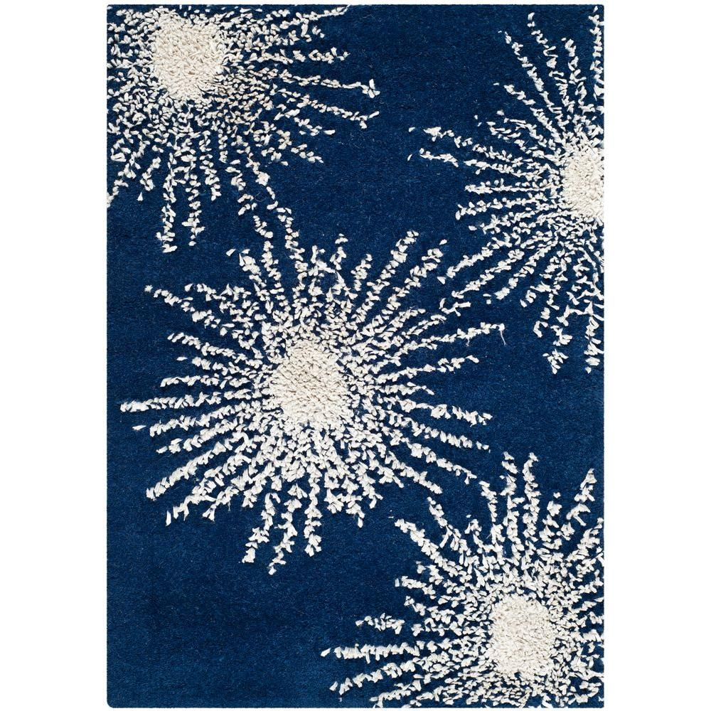 Soho Dark Blue/Ivory 2 ft. x 3 ft. Area Rug