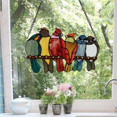 Multi-Colored Birds in Love Stained Glass Window Panel