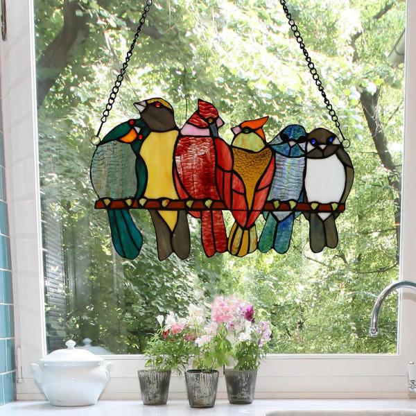 River of Goods Multi-Colored Birds in Love Stained Glass Window Panel