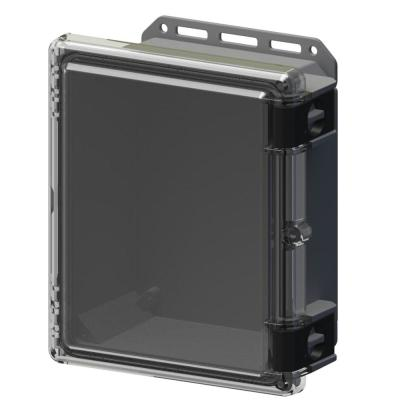 11.8 in L x 10.2 in W x 5.5 in H Cabinent Enclosure Polycarbonate Clear Hinged Latch Top Gray Bottom