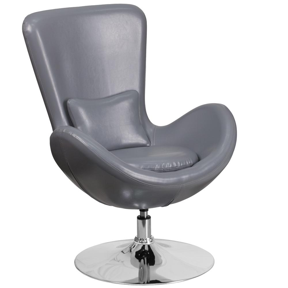 Gray Leather Egg Series Reception-Lounge-Side Chair
