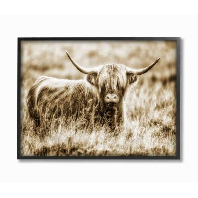 "24 in. x 30 in. ""Vintage Cow In Pasture Photo"" by Villager Jim Framed Wall Art"