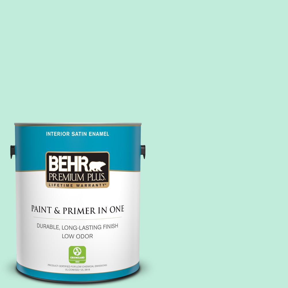 Behr Premium Plus 1 Gal 470a 2 Seafoam Pearl Satin Enamel Low Odor