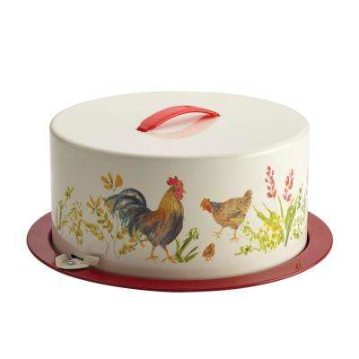 2-Piece Metal Cake and Pie Carrier Garden Rooster