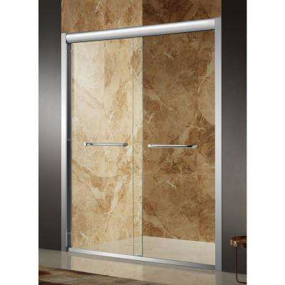 Pharaoh 60 in. x 72 in. Framed Sliding Shower Door in Brushed Nickel with Handle
