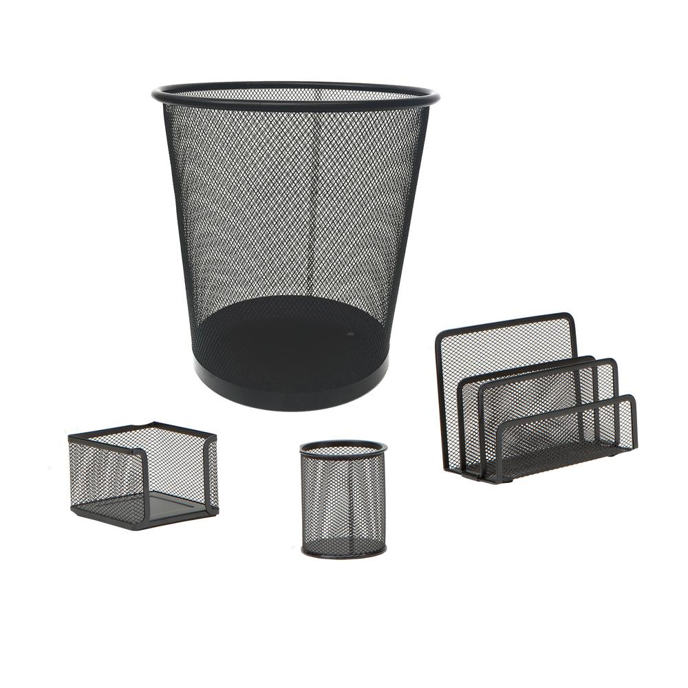 Mind Reader Metal Mesh Desk Organizer Set With Trash Can Black 4 Pieces