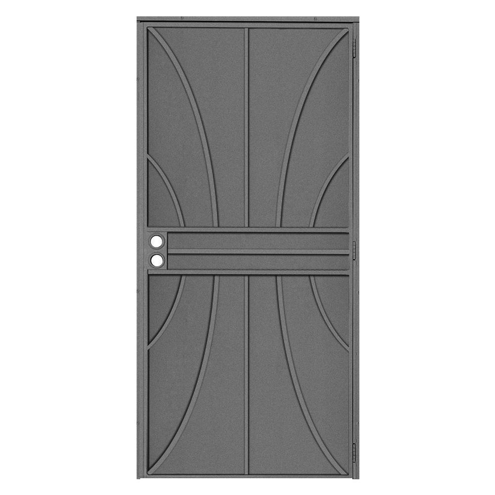 Unique Home Designs 36 In X 80 In Meridian Silverado Surface Mount Outswing Steel Security Door With Fine Grid Steel Mesh Screen