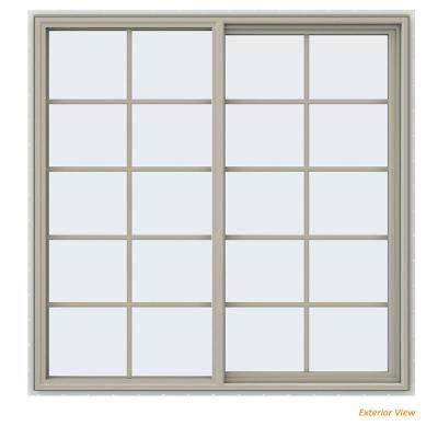 59.5 in. x 59.5 in. V-4500 Series Desert Sand Vinyl Right-Handed Sliding Window with Colonial Grids/Grilles