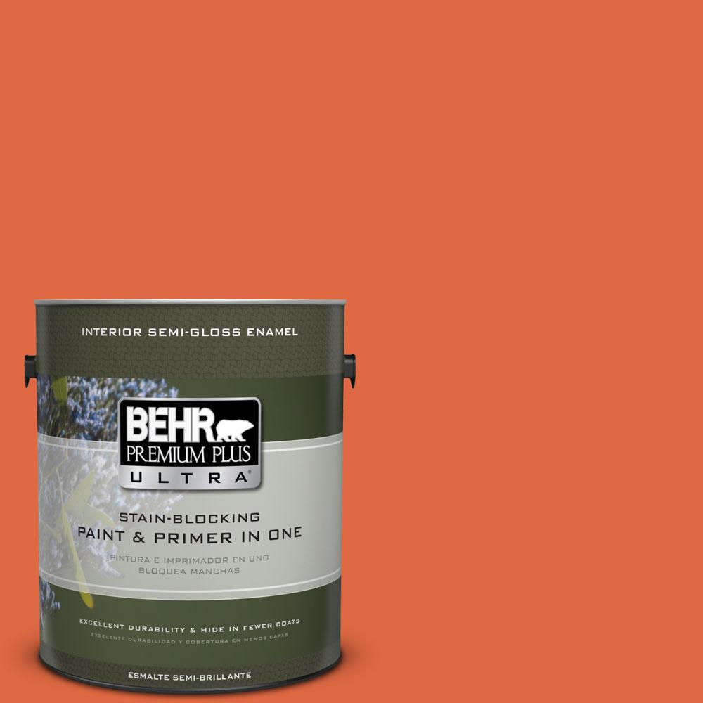 1-gal. #P200-7 Bonfire Night Semi-Gloss Enamel Interior Paint