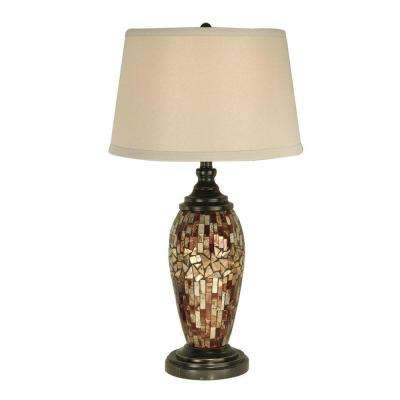 30 in. Mosaic Oval Dark Antique Bronze Table Lamp with Art Glass Shade