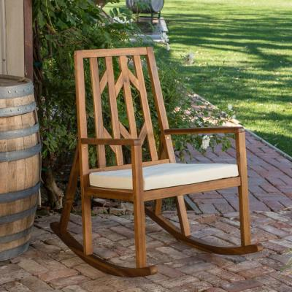 Nuna Wood Outdoor Rocking Chair with Cream Cushion