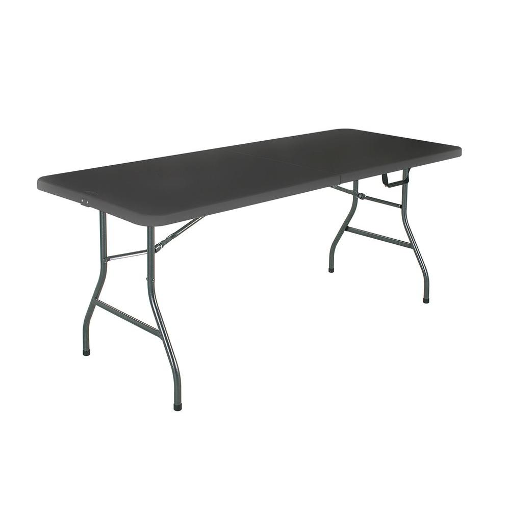 Black Metal Fold In Half Folding Banquet Table