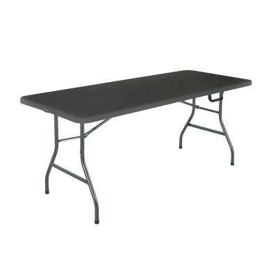 72 in. Black Metal Fold-in-Half Folding Banquet Table