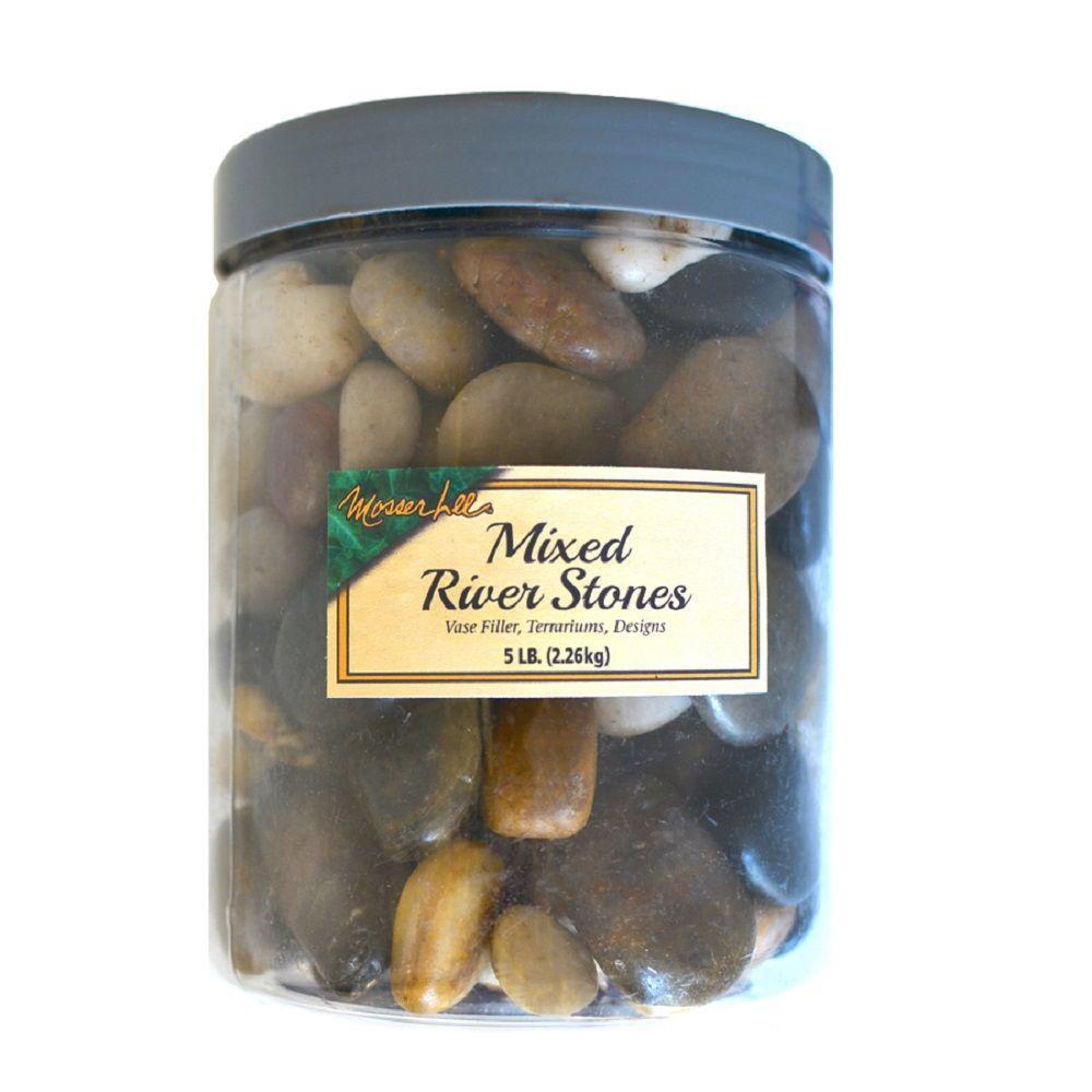 Decorator 0.04 cu. ft. 5 lb. Mixed River Stones in Storage Jar
