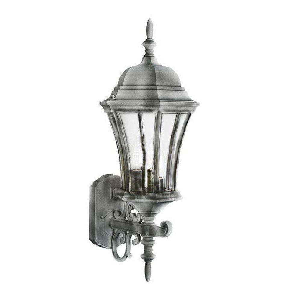 Bel Air Lighting Cabernet Collection 3-Light Outdoor Swedish Iron Coach Lantern with Clear Curved Shade