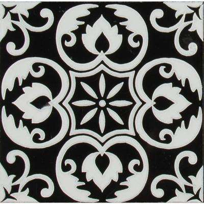 Tetris Florita Nero 6 in. x 6 in. Polished Marble Wall Tile (5 sq. ft. / case)