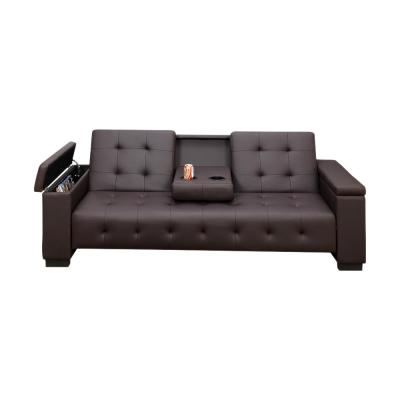 Espresso Brown Faux Leather Adjustable Sofa with Drop Down Console