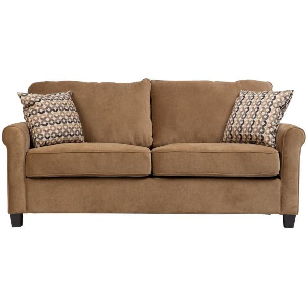 Porter Designs Serena Khaki Plush Microfiber Full Sleeper Sofa