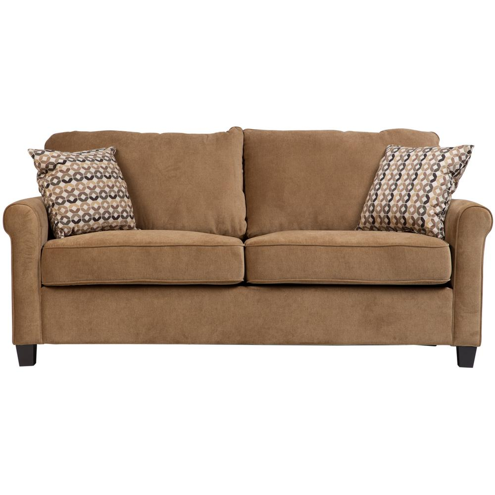 Serena Khaki Plush Microfiber Full Sleeper Sofa