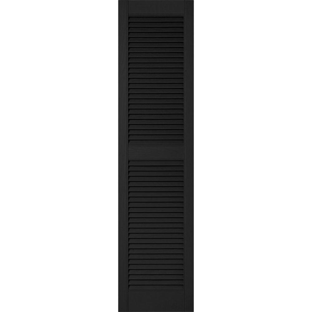 Ekena Millwork 12 in. x 70 in. Lifetime Vinyl Custom Straight Top Center Mullion Open Louvered Shutters Pair Black