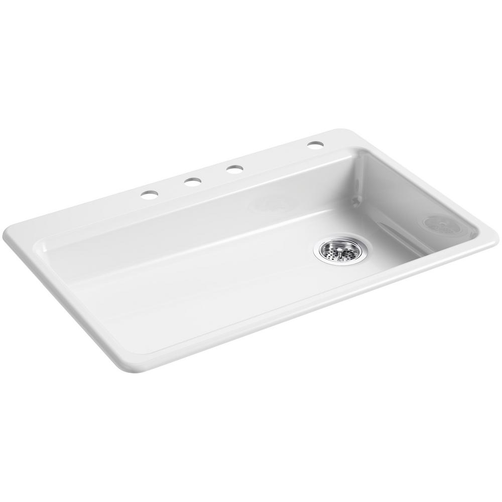 Kohler riverby drop in cast iron 33 in 4 hole single - White kitchen sink faucets ...