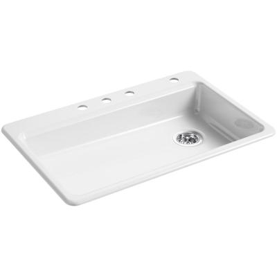 Riverby Drop-In Cast Iron 33 in. 4-Hole Single Basin Kitchen Sink in White
