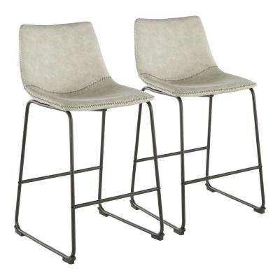 Duke 25 in. Industrial Counter Stool with Light Grey Cowboy Fabric and Black Stitching (Set of 2)