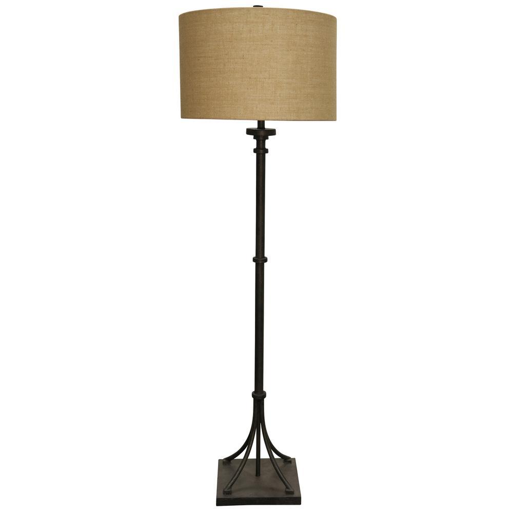 64 in. Industrial Bronze Floor Lamp with Beige Hardback Fabric Shade