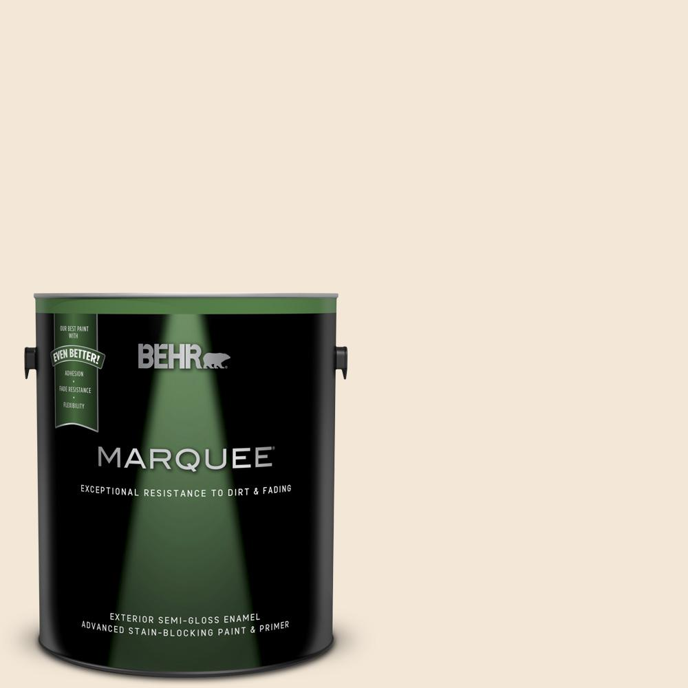 BEHR MARQUEE 1 gal  #BWC-23 Vanilla Frost Semi-Gloss Enamel Exterior Paint  and Primer in One