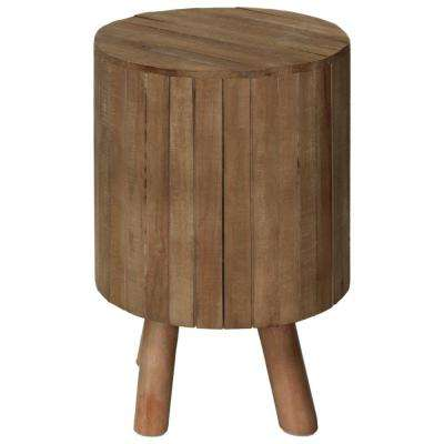 Natural Brown Wooden Round Drum End Table with Live Edge Top