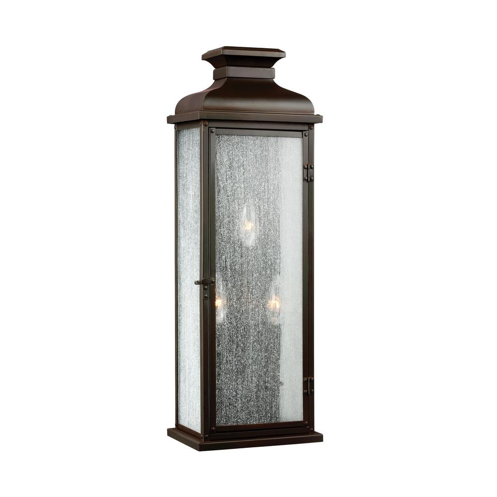 Feiss Pediment 8 in. W 3-Light Dark Aged Copper Outdoor 23.875 in. Wall Lantern Sconce with Clear Seeded Glass