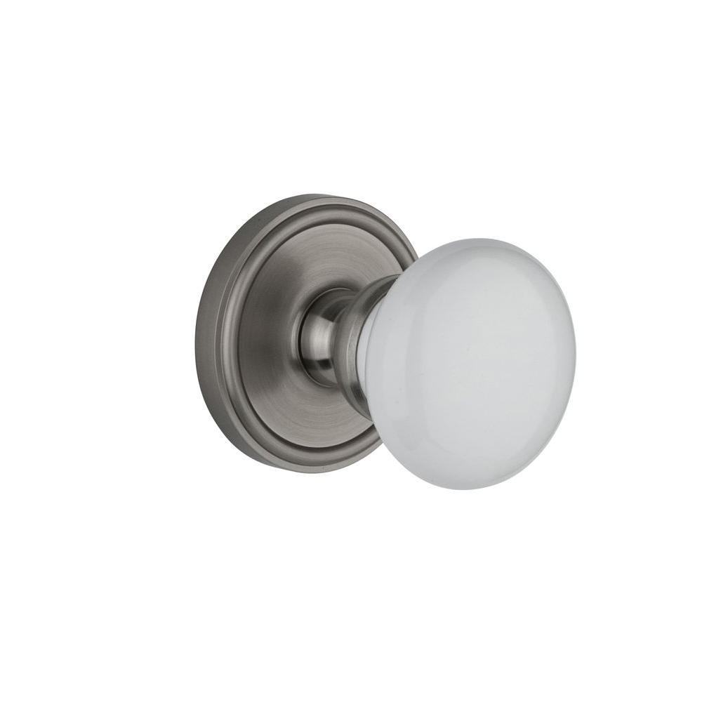 Grandeur Georgetown Rosette Satin Nickel with Passage Hyde Park Knob