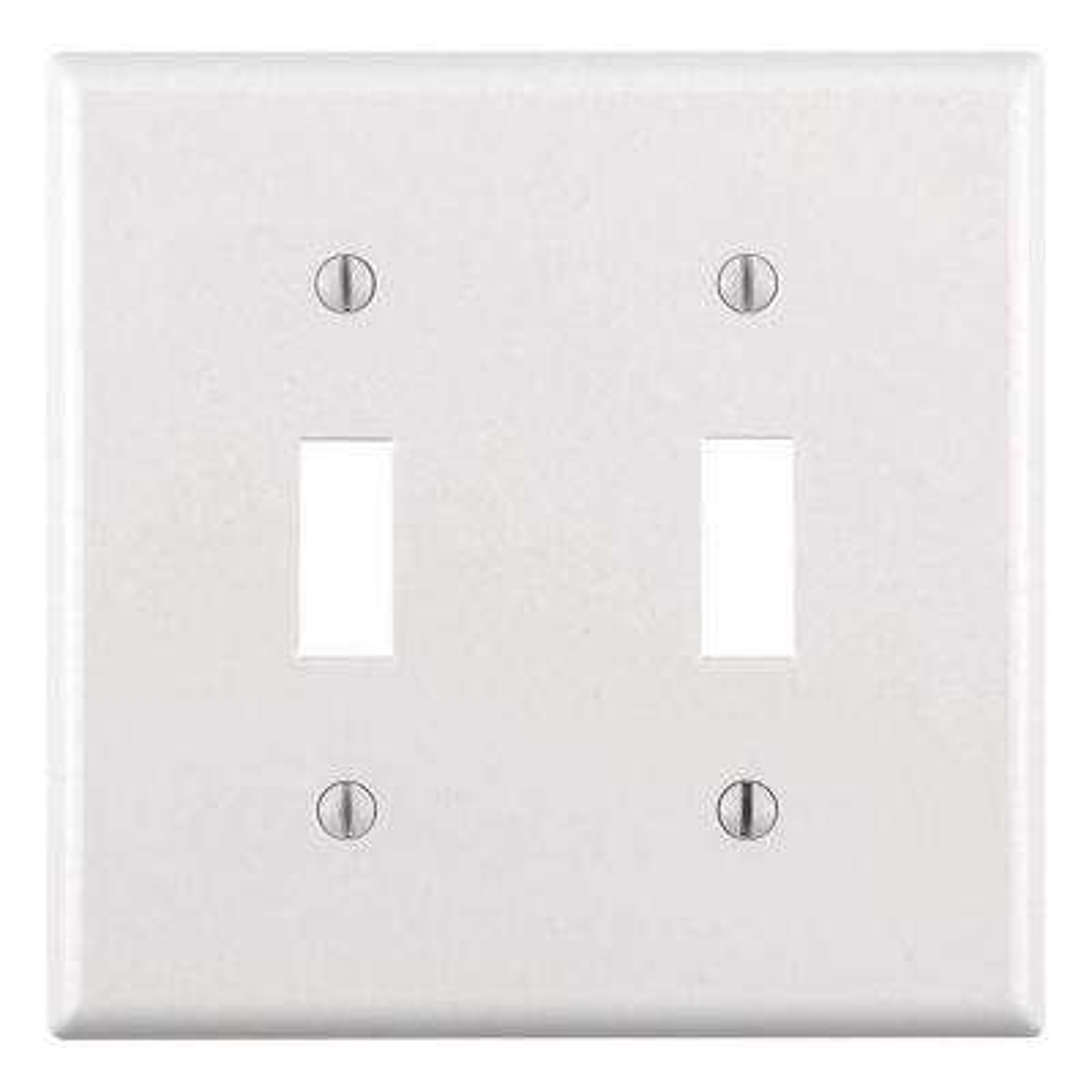 2-Gang Toggle Wall Plate, White
