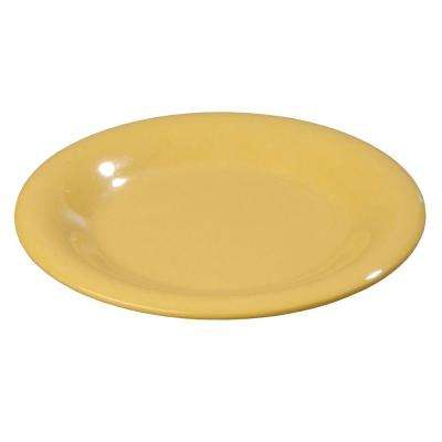 6.5 in. Diameter Melamine Pie Plate in Honey Yellow (Case of 48)